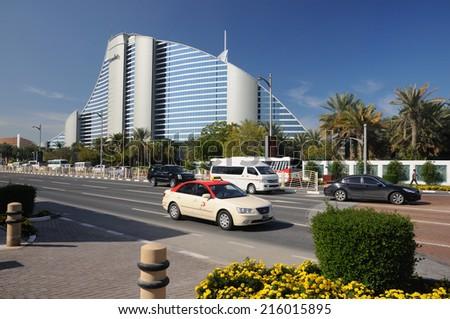 DUBAI, UAE - FEB 1: Jumeirah Hotel building in Dubai. February 1, 2009 in Dubai, United Arab Emirates - stock photo