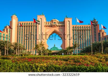 DUBAI, UAE - FEBRUARY 08: Atlantis Hotel in Dubai. UAE. February 08, 2014. The newly opened multi-million dollar Atlantis Resort, Hotel & Theme Park at the Palm Jumeirah Island in Dubai - stock photo