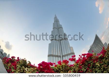 DUBAI, UAE - FEBRUARY 19: Burj Khalifa facade on december 29, 2011 in Dubai, UAE. Burj Khalifa is a tallest building in the world, at 828m. Located on Downtown Dubai, Sheikh Zayed Road. - stock photo