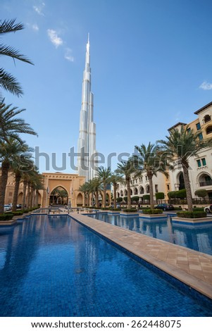 DUBAI, UAE - FEBRUARY 24 - Burj Khalifa, the highest building in the world, 829.8 m tall. Picture taken on February 24, 2015. - stock photo