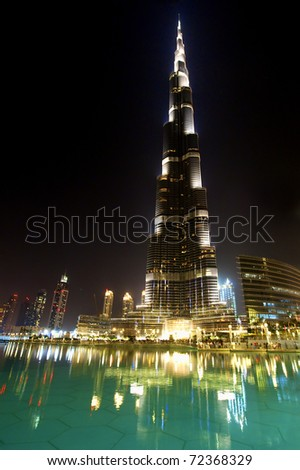 DUBAI, UAE - FEBRUARY 19: Burj Khalifa, the world's tallest building at Sheikh Zayed Road taken February 19, 2011 in Dubai, United Arab Emirates. Burj Khalifa is 828m high. - stock photo