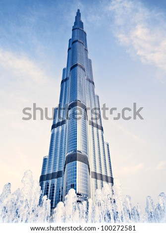 DUBAI, UAE - FEBRUARY 16: Burj Khalifa - world's tallest tower in the world at 828 m, located in Downtown Dubai, Burj Dubai on February 16, 2012 in Dubai, United Arab Emirates - stock photo