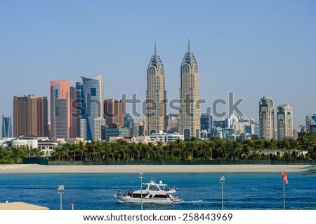 DUBAI, UAE - FEBRUARY 20 - Dubai Media City (DMC) part of Dubai Holding is a tax free zone within Dubai, has been built by the Dubai government to boost UAE's media foothold. February 20, 2015 - stock photo