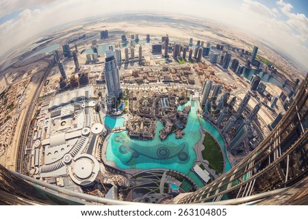 DUBAI, UAE - FEBRUARY 24 - View of downtown Dubai from Burj Khalifa, United Arab Emirates. Picture taken on February 24, 2015. - stock photo