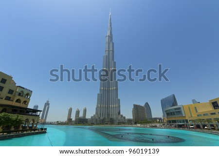 DUBAI, UAE - JAN 29: Burj Khalifa, world's tallest tower, Downtown Burj Dubai January 29, 2012 in Dubai, United Arab Emirates - stock photo