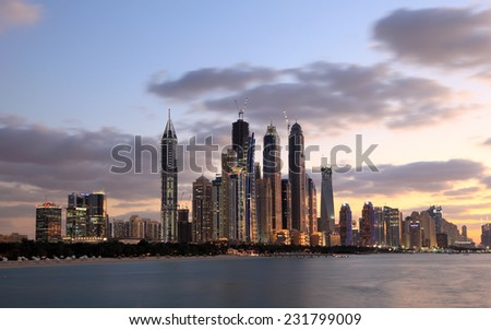 DUBAI, UAE - JAN 17: Dubai Marina skyline at night. January 17, 2012 in Dubai, United Arab Emirates  - stock photo