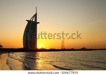 DUBAI, UAE - JANUARY 3: Burj Al Arab hotel on January 3, 2012 in Dubai. Burj Al Arab is a luxury 5 stars hotel built on an artificial island in front of Jumeirah beach.