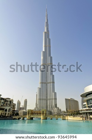 DUBAI, UAE - JANUARY 6: Burj Khalifa on January 6, 2012 in Dubai, UAE. Burj Khalifa, known as Burj Dubai, is currently the tallest manmade structure in the world, at 829.84 m (2,723 ft). - stock photo