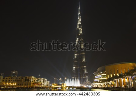DUBAI, UAE - JANUARY 10: Burj Khalifa,the tallest man-made structure in the world, at 829.8 m, Downtown Burj Dubai January 10, 2013 in Dubai, United Arab Emirates - stock photo