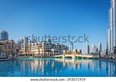 DUBAI, UAE - JANUARY 2: Souk al Bahar shopping mall in downtown Dubai, United Arab Emirates, Middle East, on January 2, 2015. - stock photo