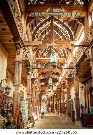 DUBAI, UAE - JANUARY 31: The Madinat Souk at Madinat Jumeirah Hotel on January 31, 2012 in Dubai. The traditional Arabian souk is a shopping paradise - stock photo