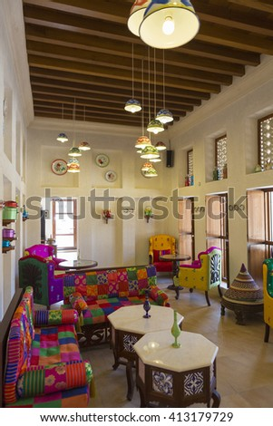 DUBAI, UAE - JANUARY 11: Traditional Arabic place for relax, interior and living room with authentic colorful armchair and decoration in Dubai. United Arab Emirates 2016. - stock photo