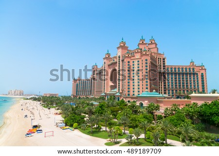 DUBAI, UAE - 16 JULY 2014: Atlantis, the Palm luxury hotel resort is located on an artificial archipelago in the United Arab Emirates.