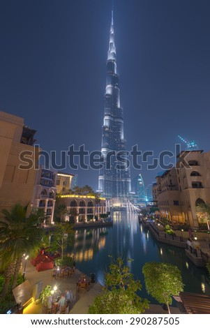 Dubai / UAE - June 5: Burj Khalifa the tallest building in the world over look from Souk Al Bahar on June 5 ,2015 in Dubai. - stock photo