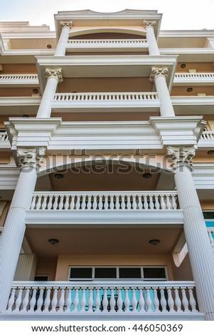 DUBAI, UAE - JUNE 26, 2016: Kempinski Hotel and Residences (129 luxury suites, penthouses and villas) on man-made island of Palm Jumeirah. United Arab Emirates.  - stock photo