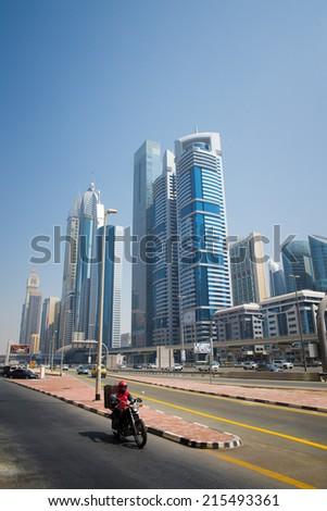 DUBAI, UAE -  6 MARCH, 2014: Beautiful and modern skyscrapers in Dubai. March  6, 2014 Dubai, UAE. - stock photo