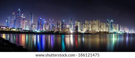 DUBAI, UAE - MARCH 29: Dubai Marina at night, on March 29, 2014, Dubai, UAE. In the city of artificial channel length of 3 kilometers along the Persian Gulf. - stock photo
