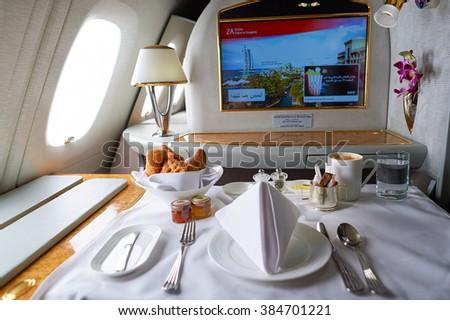 DUBAI, UAE - MARCH 31, 2015: interior of Emirates Airbus A380. Emirates