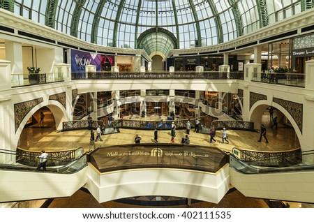 DUBAI, UAE - MARCH 10: Interior of the Mall of the Emirates on March 10, 2016 in Dubai. Mall of the Emirates is a shopping mall in the Al Barsha district of Dubai. - stock photo