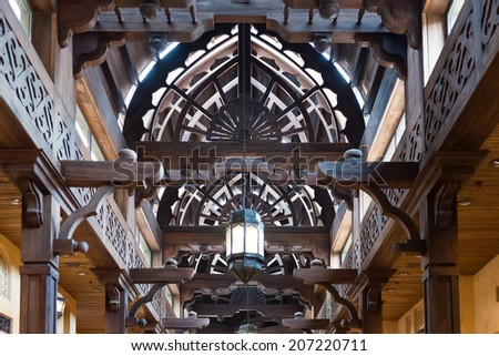 DUBAI, UAE - MARCH 29, 2014: Interior view of the Souk Madinat Jumeirah. Madinat Jumeirah encompasses two hotels and clusters of 29 traditional Arabic houses.  - stock photo