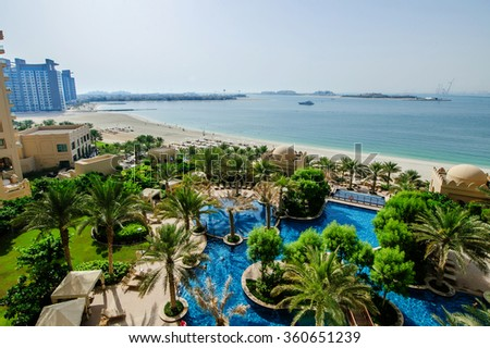DUBAI,UAE ,MARCH 31 Located in Palm Jumeirah, Fairmont The Palm offers luxurious accommodation with spectacular views. On 31 of March,2014 - stock photo