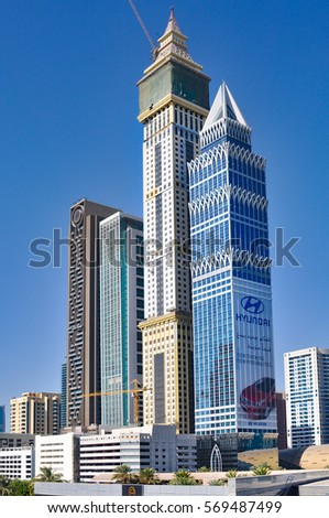 Modern Architecture Skyscrapers tower power line electricity transmission wires stock photo