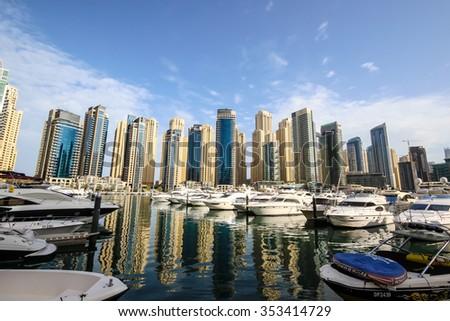 DUBAI, UAE - March 27, 2015: Modern buildings in Dubai Marina, UAE. In the city of artificial channel length of 3 kilometers, taken on March 27, 2015, in Dubai, United Arab Emirates - stock photo