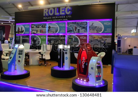DUBAI, UAE - MARCH 06: Rolec Services stand during Dubai International Boat Show at Dubai Marina Yacht Club on March 06, 2013 in Dubai, United Arab Emirates