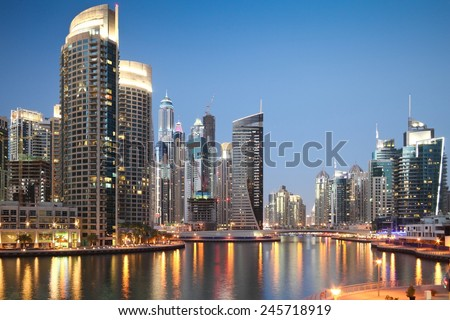 DUBAI, UAE - MARCH 5: Skyscrapers in Dubai Marina at sunset, on March 5, 2013,  in Dubai, United Arab Emirates.
