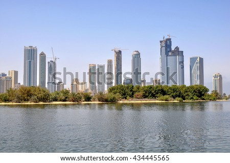 DUBAI,UAE - MARCH 09,2012 :skyscrapers on the waterfront in the state of Sharjah