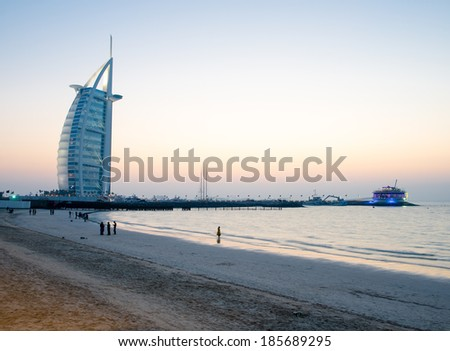 DUBAI, UAE - MARCH 6 :The world's first seven stars luxury hotel Burj Al Arab, March 6, 2014 in Dubai, United Arab Emirates.