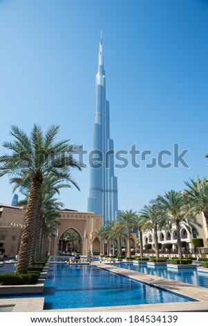 DUBAI, UAE - 3 MARCH, 2014: View of The Palace Downtown Dubai. It is located on the Old Town Island in Burj Khalifa complex. March  3, 2014 Dubai,  UAE. - stock photo