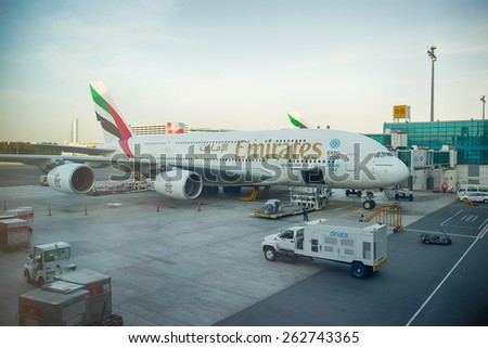 DUBAI, UAE - MAY 16: Airbus A380 docked in Dubai airport. Dubai International Airport is an international airport serving Dubai. It is a major airline hub in the Middle East - stock photo