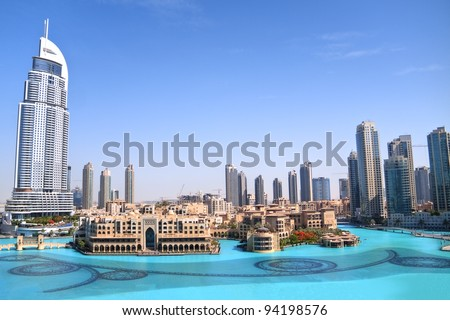 DUBAI, UAE - MAY 25 : Dubai, the view of Dubai downtown and dancing fountain from the tallest building in the world, Burj Khalifa on May 25, 2011 in Dubai, UAE. Day View - stock photo