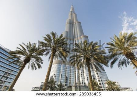 DUBAI, UAE - MAY 7, 2015: View at Burj Khalifa in Dubai. This skyscraper is the tallest man-made structure ever built, at 828 m. - stock photo