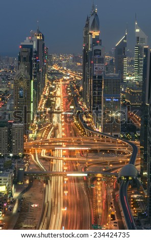 DUBAI, UAE - NOV 15: Busy Sheikh Zayed Road in the evening November 15,2014 in Dubai, UAE