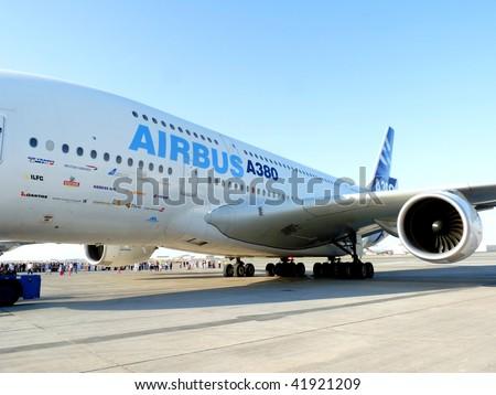 DUBAI, UAE - NOVEMBER 19: Airbus A380 aircraft on display during Dubai Air Show 2009 at Airport Expo Dubai November 19, 2009 in Dubai, United Arab Emirates. - stock photo