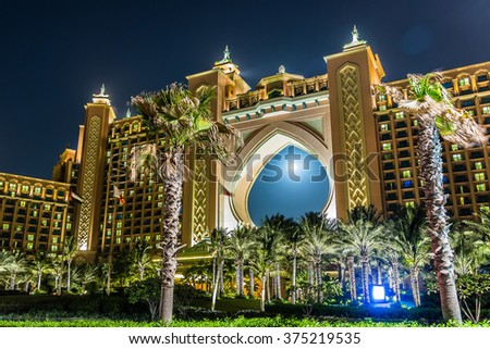 DUBAI, UAE - NOVEMBER 13: Atlantis hotel at night in Dubai, United Arab Emirates, on November 13, 2015 - stock photo