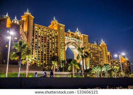 DUBAI, UAE - NOVEMBER 13: Atlantis hotel on November 13, 2011 in Dubai, UAE. Atlantis the Palm is a luxury 5 star hotel built on an artificial island - stock photo