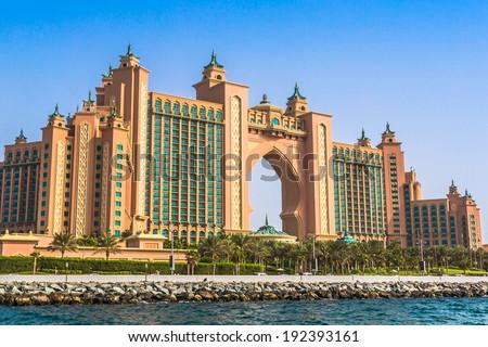DUBAI, UAE - NOVEMBER 13: Atlantis hotel on November 13, 2012 in Dubai, UAE. Atlantis the Palm is a luxury 5 star hotel built on an artificial island - stock photo
