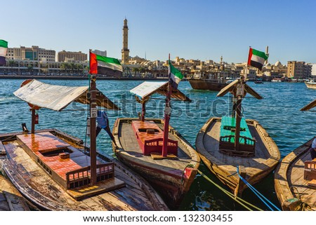 DUBAI, UAE - NOVEMBER 18: Boats on the Bay Creek in Dubai, UAE nov 18 2012 - stock photo