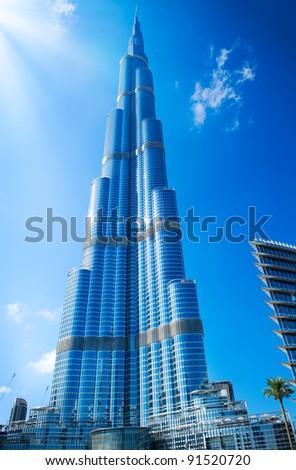 DUBAI, UAE. - NOVEMBER 29 : Burj Dubai - tallest building in the world, at 828m. on November 29, 2011 in Dubai, UAE. Day View from Downtown Dubai - stock photo
