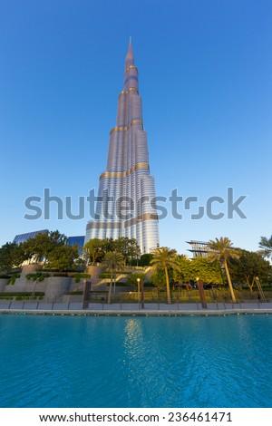 DUBAI, UAE - NOVEMBER 27: Burj Khalifa on November 27, 2014 in Dubai, UAE. Burj Khalifa is currently the tallest building in the world, at 829.84 m (2,723 ft).  - stock photo