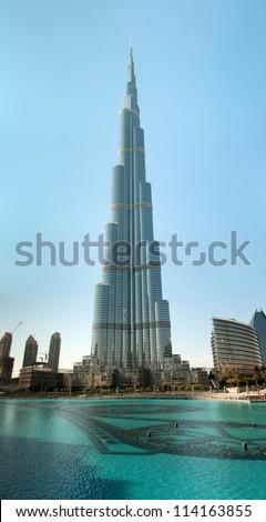 DUBAI, UAE - NOVEMBER 26:Burj Khalifa - the world's tallest manmade structure (829m) at Downtown Dubai, United Arab Emirates at November 26, 2011 - stock photo