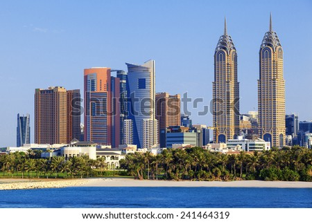 DUBAI, UAE - November 28: Dubai beach, November 28, 2014 in Dubai. More than 10 million people visit the city every year. - stock photo