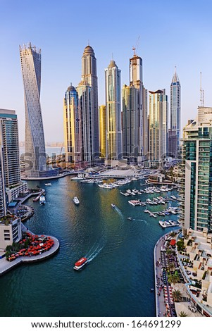 DUBAI, UAE - NOVEMBER 2: Dubai Marina from the top, on November 2, 2013, Dubai, UAE. In the city of artificial channel length of 3 kilometers along the Persian Gulf. - stock photo