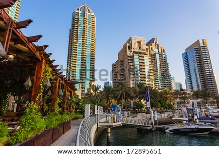 DUBAI, UAE - NOVEMBER 3: Dubai Marina. UAE. November 3, 2013. Dubai was the fastest developing city in the world between 2002 and 2008.