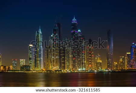 DUBAI, UAE - NOVEMBER 7: Dubai Marina. UAE. November 7, 2013. Dubai was the fastest developing city in the world between 2002 and 2008. - stock photo