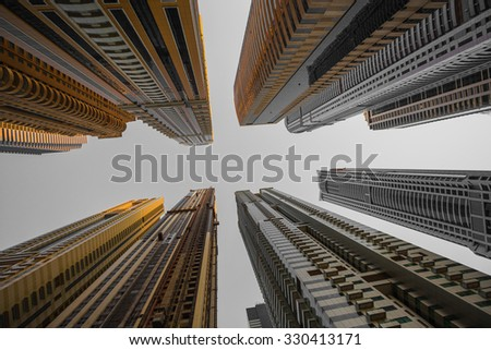 DUBAI, UAE - NOVEMBER 3: Dubai Marina. UAE. November 3, 2013. Dubai was the fastest developing city in the world between 2002 and 2008. - stock photo