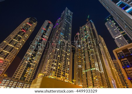 DUBAI, UAE - NOVEMBER 7: Dubai Marina. UAE. November 7, 2013. Dubai was the fastest developing city in the world between 2002 and 2008.